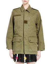 Saint Laurent Military Jacket Wback Shark Patch Olive