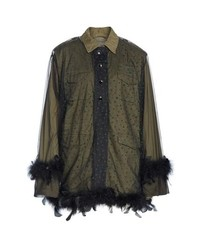 Tu Es Mon Trésor Military Jacket With Removable Tulle Feather Overlay