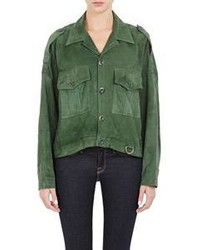 Band Of Outsiders Suede Military Jacket Colorless