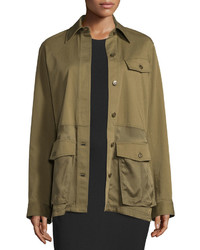 Alexander Wang T By Cotton Stretch Military Parka Jacket Fatigue