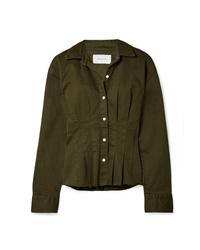 Current/Elliott The Tella Pleated Cotton Blend Twill Jacket