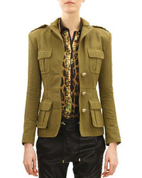 Balmain Three Button Four Pocket Military Jacket Khaki Green