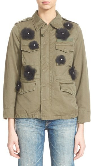 Tu Es Mon Tresor Tulle Flower Military Jacket