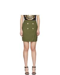Balmain Khaki 4 Button Wrap Skirt