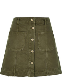 Khaki denim button up a line skirt medium 417921