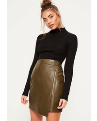 Missguided khaki zip front asymmetric panel mini skirt medium 1157042