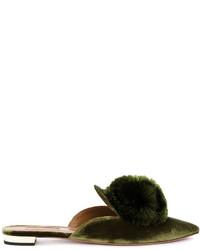 Aquazzura Green Powder Puff Mules