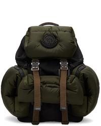 Moncler Green Black Satin Area Backpack