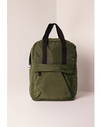 Missguided Nylon Sleek Sport Rucksack Khaki