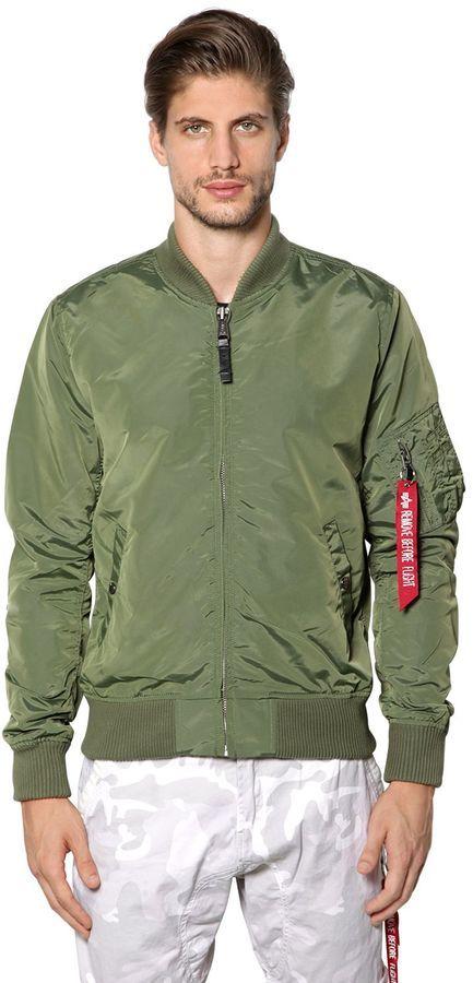 5289c904843 ... Olive Nylon Bomber Jackets Alpha Industries Ma 1 Tt Slim Fit Nylon Bomber  Jacket ...