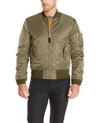 Olive Nylon Bomber Jacket