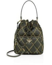 Prada Tessuto Impunturato Quilted Nylon Bucket Bag