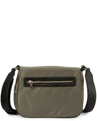 Neiman Marcus Charlie Nylon Messenger Crossbody Bag Military