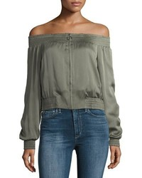 BCBGMAXAZRIA Marco Off The Shoulder Zip Front Satin Top