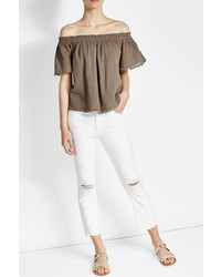 Velvet Off Shoulder Cotton Top