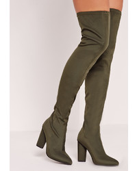 Missguided Pointed Toe Neoprene Over The Knee Boot Khaki