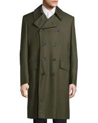 Valentino Double Breasted Long Coat Olive