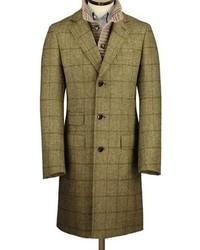 Charles Tyrwhitt Olive Tweed British Wool Overcoat