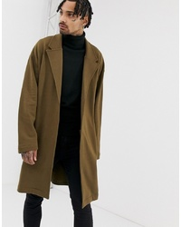 ASOS DESIGN Oversized Jersey Duster Jacket In Brown