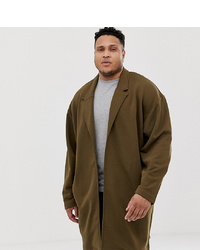ASOS DESIGN Plus Oversizesd Jersey Duster Jacket In Brown