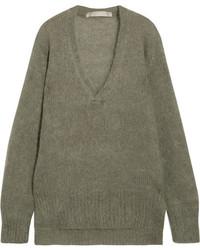 Oversized mohair blend sweater army green medium 5258984