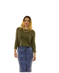 Soho Girl Perfect Fit Sunday Sweater In Olive