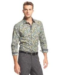 Olive Paisley Long Sleeve Shirt