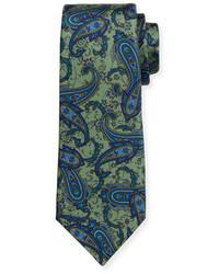 Kiton Paisley Print Silk Tie Green