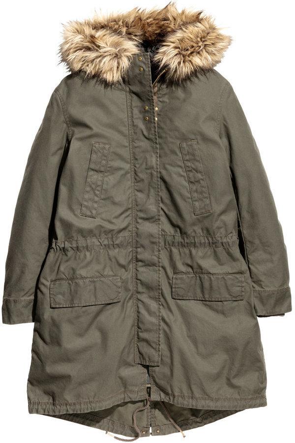 premium selection db9f8 702bb $99, H&M Cotton Parka Khaki Green Ladies