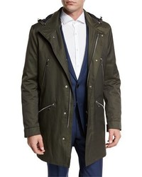 BOSS Denny Twill 34 Length Water Repellant Parka Olive