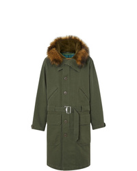 Burberry Double Faced Cotton Silk Hooded Parka With Warmer