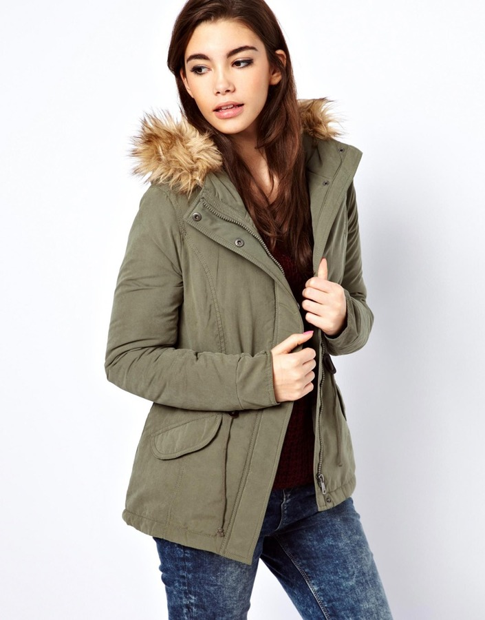 Only Faux Fur Hood Parka Green | Where to buy & how to wear