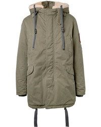 Lanvin Faux Shearling Trimmed Cotton Canvas Hooded Parka
