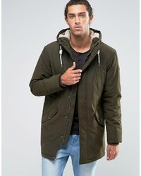Esprit Fish Tail Parka With Teddy Hood Lining In Khaki