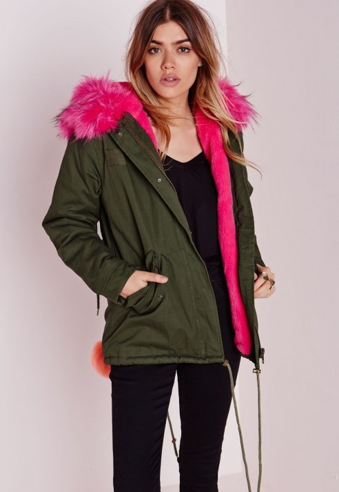 Missguided Fur Hood Short Parka Coat Khakihot Pink | Where to buy ...