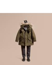 Burberry Fur Trimmed Cotton Sateen Parka