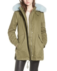 Derek Lam 10 Crosby Genuine Fox Cotton Blend Parka