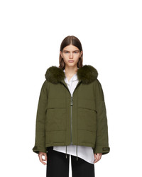 Yves Salomon Army Green Down And Fur Bachette Jacket