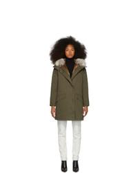 Yves Salomon Army Green Down And Fur Cotton Parka