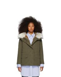 Yves Salomon Army Green Down And Fur Cotton Short Parka