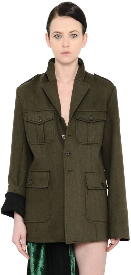 Haider Ackermann Military Felted Parka Coat