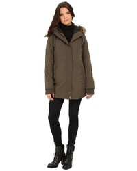 DKNY Hooded Faux Fur Hi Lo Fitted Parka 82503 Y5