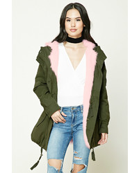 Forever 21 Hooded Faux Fur Parka