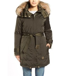 Jeri belted down parka with genuine fox or coyote fur trim medium 353033