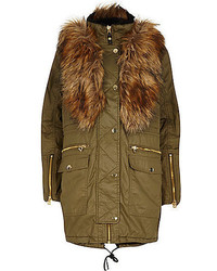 River Island Khaki Coated Faux Fur Parka Jacket