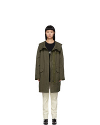 Yves Salomon Army Khaki Cotton And Linen Parka
