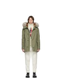 Yves Salomon Khaki Down And Fur Parka