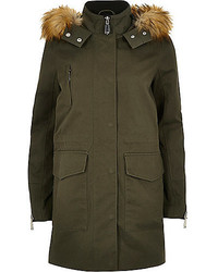 River Island Khaki Faux Fur Trim Parka Coat