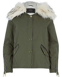 River Island Khaki Faux Fur Trim Parka Jacket