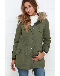 Luck Of The Draw Faux Fur Olive Green Parka Jacket | Where to buy ...
